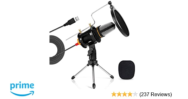 TONOR PC Microphone USB Computer Condenser Studio Mic Plug & Play with  Tripod Stand & Pop Filter for  Chatting/Skype/YouTube/Recording/Gaming/Podcastin