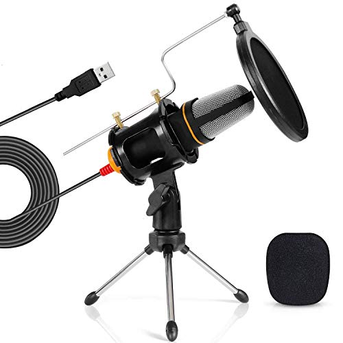 - TONOR PC Microphone USB Computer Condenser Studio Mic Plug & Play with Tripod Stand & Pop Filter for Chatting/Skype/Youtube/Recording/Gaming/Podcasting for iMAC PC Laptop Desktop Windows Computer