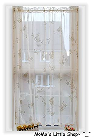 Beautiful Ivory/Cream Floral Printed Voile Panel/Curtain 55