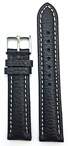 (20mm Black Genuine Leather Watch Band | Buffalo Shrunken Grain, Medium Padded Replacement Wrist Strap with Creamy White Stitches That Brings New Life to Any Watch (Mens Standard)