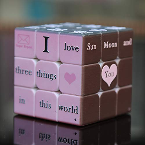 TTXST Love Letter 3D Third-Order Speed Cube Embossed Chinese and English (Morandi Color) Confession Love Artifact 3x3x3 (Best 4x4 Rubik's Cube 2019)