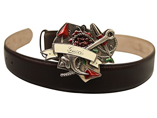 Gucci Brown Leather Heart Tattoo Metal Buckle Belt 308045 (80 / 32) (Gucci Tattoo)