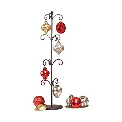 Iron Scroll Ornament Stand with Glass ()