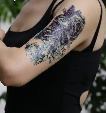 Hombres pulsera Tattoo Negro Falso Tatuaje Calavera con Lotus ...