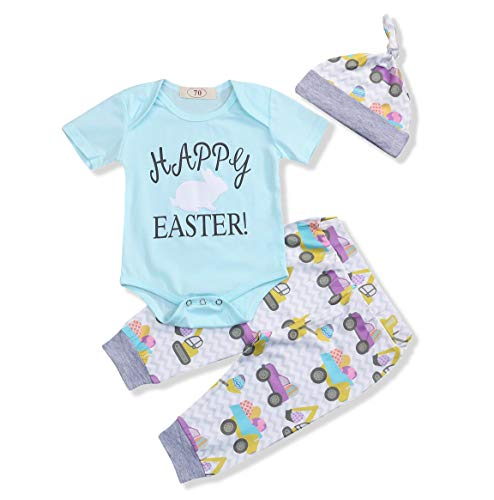 My First Easter Outfits Toddler Baby Girl Boys Romper Rabbit Clothes Pants Sets (Blue, 0-6 Months) -
