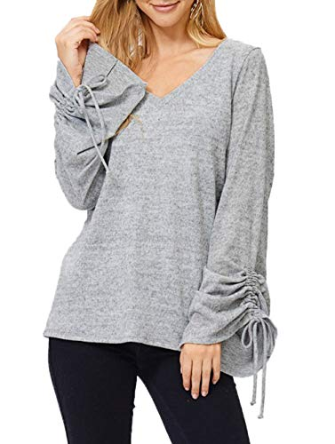 Chemisiers Hauts Sleeve et Fashion T Couleur Shirts Top Sweat Bandage Jumpers Femmes V Shirts Col Gris Blouse Unie Shirts Automne Gavemenget Flare Tees Printemps 5IqzwH4