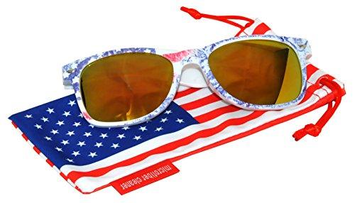 Classic American Patriot Sunglasses USA American Flag Frame Yellow Mirror Lens OWL