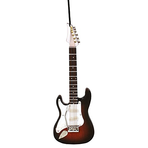Brown Electric Guitar (Left Hand) Music Instrument Replica Christmas Ornament, Size 5 inch