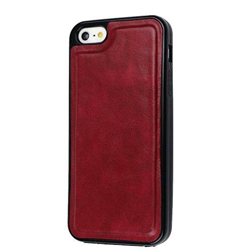 Funda iPhone 5S, iPhone SE Case, Rosa Schleife Multifunción de alta calidad caja de la cremallera de billetera de cuero 2 en 1 Cartera De Cuero caja del teléfono de Caso Carcasa cubierta de la carpeta A - Púrpura
