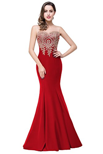 Women's Red Mermaid Appliques Lace Evening Gown Dress, 16, Red