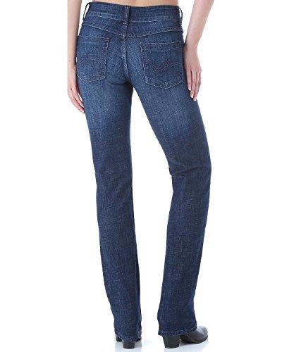 Wrangler Women's Premium Patch Mae Straight Leg Jean-Sits Above Hip, Dark Stone, 9x34 (Premium Stone)
