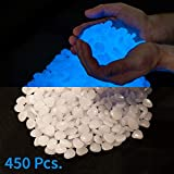 2.2lbs, 450 Piece Glow in the Dark Pebbles, Rocks, Stones. Great for Backyard or Indoor Decor, Garden Decorations, Patio Decoration, Zen Garden, Aquariums, Flower Beds. Solar or LED Charged Pebbles.