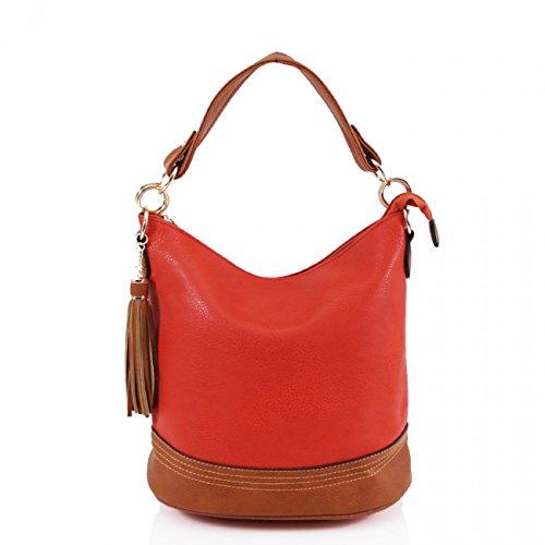 LeahWard? Women's Tassel Bucket Bag Fashion Shoulder Bags For Women Handbags Tote CW9660 Orange