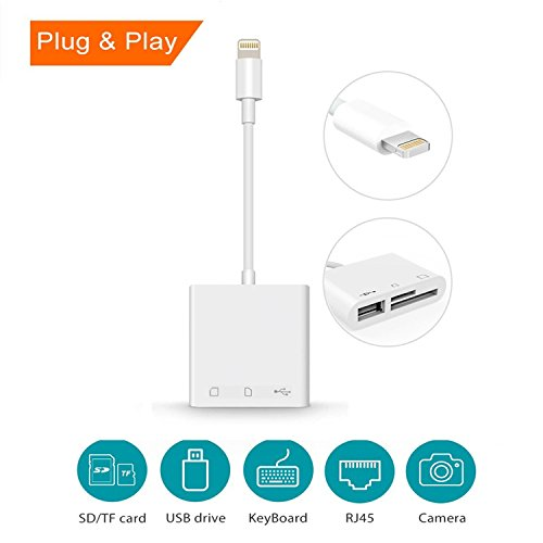 SD Card Reader,3 in 1 Lightning Adapter for iPhone & iPad, Lightning to SD/TF Card Camera Reader, Trail Game Camera SD Card Reader, Lightning to USB 2.0 Female OTG Adapter Cable (White)