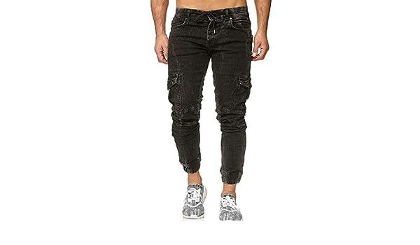 Jofemuho Mens Pure Color Pockets Sport Stylish Casual Jogger Pants