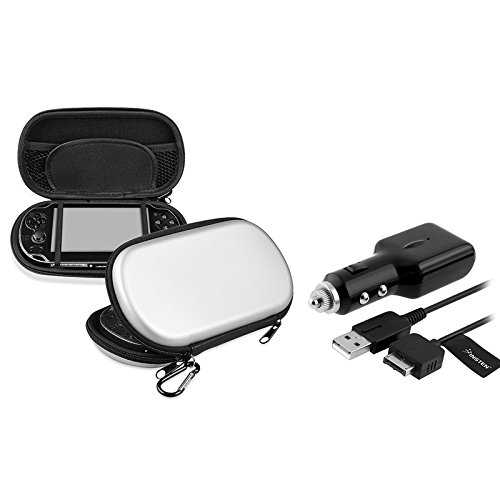 eForCity® Silver Eva Case with 1 Car Charger With USB Cable Compatible With Sony Playstation Vita
