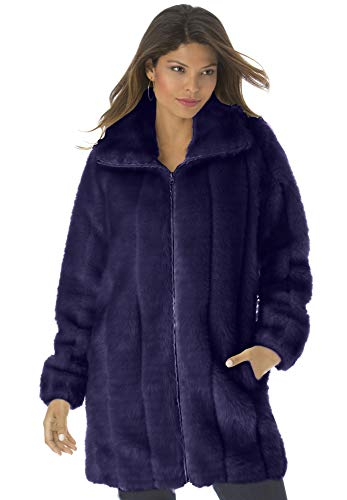 Roamans Women's Plus Size Short Faux-Fur Coat - Deep Grape, L]()