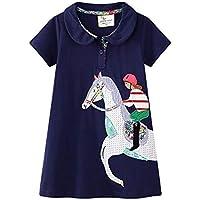 CHOUREN 2-7 Year Old Summer Little Girls Clothes Children's Clothing KIDS Lovely CUTE Cartoon Cotton Dark Blue Fashion…
