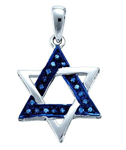 10k White Gold Blue Colored Diamond Womens Star Magen David Religious Heritage Pendant 1/10 Cttw