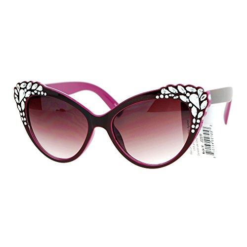SA106 Womens Rhinestone Iced Out Bling Cat Eye Fashion Sunglasses - Cat Eye Bling Sunglasses