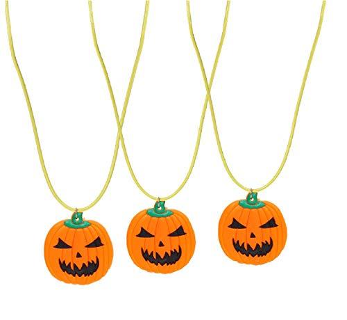 3pcs Halloween Pumpkin Necklace Jack O Lantern Necklace LED Lightup Halloween Party Favors ()