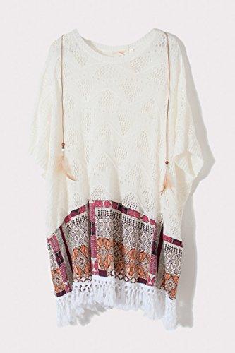 Cherry-Paris PROMO-vestido y túnica Norah, diseño con estampado étnico Mangas amplias corta con flecos y Nodo talla única blanco