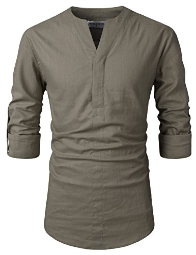 (NEARKIN (NKNKN370 Mens No-Button Slit Vanguard Linen Henley Neck Shirts Khaki US XL(Tag Size XL))