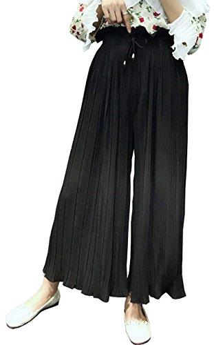 Pieghe Con Donna Moda Coulisse Pantalone Moda Monocromo Libero Pantaloni Femminilità High Pantaloni Colpo Nero Pantaloni Tempo Grazioso Elegante Larghi Estivi Waist 8O1x1dwB