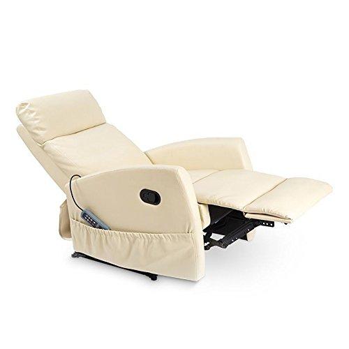 Deluxe - Sillón Relax Masaje Reclinable Manual Slim Antiestrés - Calor Lumbar - 8 Motores De Vibración - Máxima Calidad - Beige