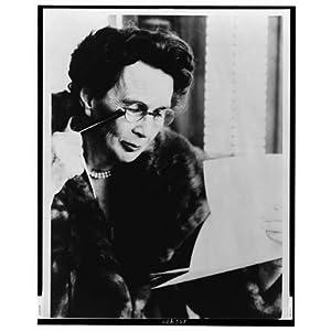 Photo: Adela Rogers St. Johns,reading through a lorgnette,eyeglasses,1966