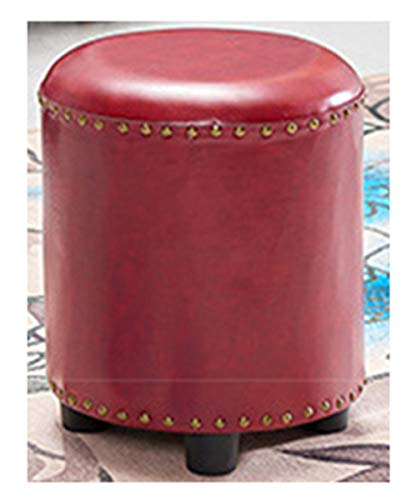 Quality Wood Seating Footstool Footrest Ottoman Pouffe Round Chair Foot Stool with Faux Luxury Oil Wax Leather Cover Handcrafted Rivets Edge-Sealing Upgrade-7 (Footrest Pouffe)