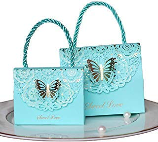 - Eyxia Wedding Favor Boxes Flower Laser Cut Party Favors Bags Baby Shower Candy Gift Box Set Butterfly Event Decoration Wholesale 20pcs Blue
