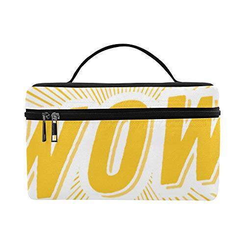 (Wow Sigh Lable Pop Art Large Capacity Size Lady Cosmetic Bag Makeup Organizer Lunch Box Train Toiletry Case For Girls Teen Women Travel With Clear Zipper And Single Layer)