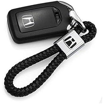 Amazon.com: VILLSION 2Pack Genuine Leather Car Logo Keychain ...