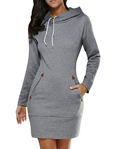 BBYES Women's Hoodie Sweatshirt Dress Long Sleeve Slim Fit Midi Dress Hooded Tops With (Hood Jumper)