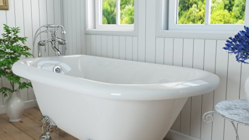 Luxury 54 inch Small Clawfoot Tub with Vintage Tub Design in White, includes Polished Chrome Ball and Claw Feet and Drain, from The Highview Collection by Pelham & White (Image #3)