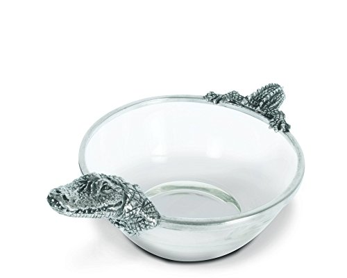 Vagabond House Pewter Alligator Glass Dip Bowl 10.5