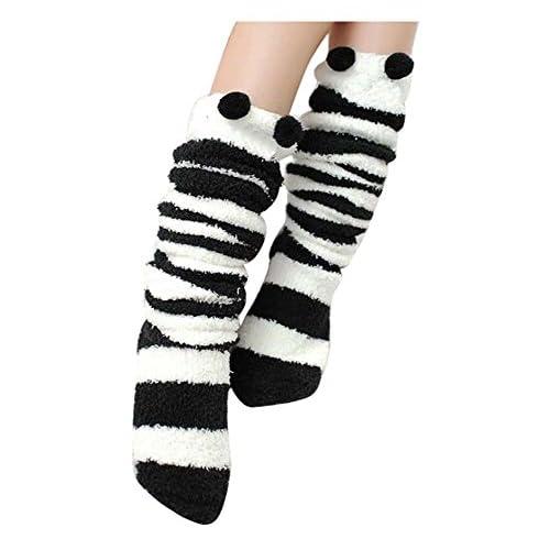 Mignon automne / hiver plus épais genou / haute tube chaussettes sommeil / serviette chaussettes-noir