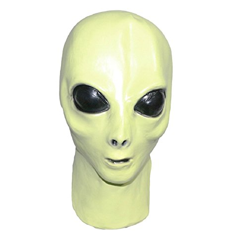 Alien Latex Mask. Glow in The Dark, Roswell Full Head. Costume Accessory, Fancy Dress Party or Events, UFO Movie Prop, Unisex]()