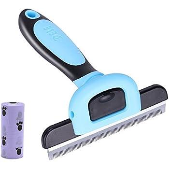 4 inches Edge Dog Shedding Brush, De Shedding Tool Deshedding Brush, Pet Grooming Shed Brush Tools for Dog and Cat Hairs, Professional Pet Reduces Shedding Tool Comb, Blue Large Size