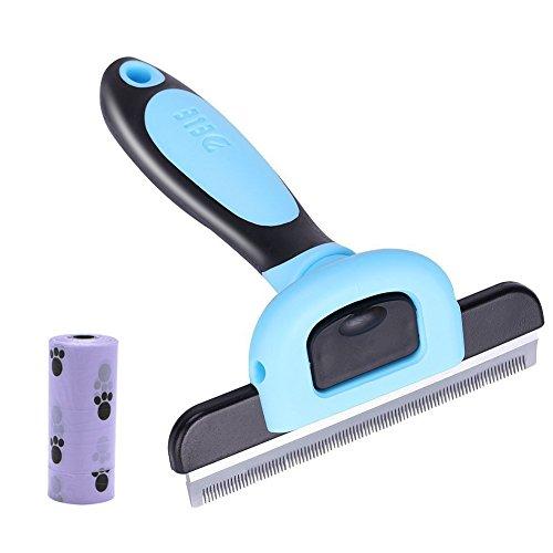 (4 inches Edge Dog Shedding Brush, De Shedding Tool Deshedding Brush, Pet Grooming Shed Brush Tools for Dog and Cat Hairs, Professional Pet Reduces Shedding Tool Comb, Blue Large Size)