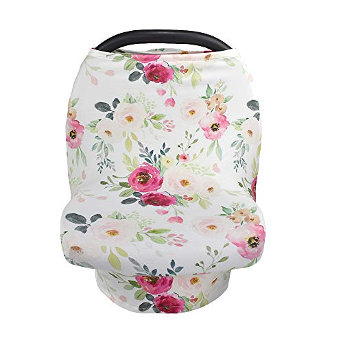 Breastfeeding Nursing Cover, Baby Carseat Canopy, Infant Stroller Covers, Multifunction Sun Shade Canopy (Rose Floral) (Cover Car Floral Toddler Seat)