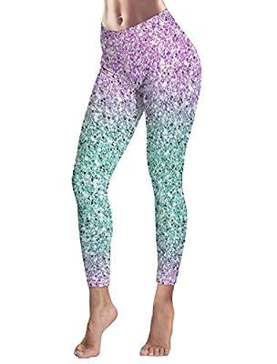 Women's Capris Printed Custom Leggings Gradual Color Marbling High Waist Yoga Running Workout Pants