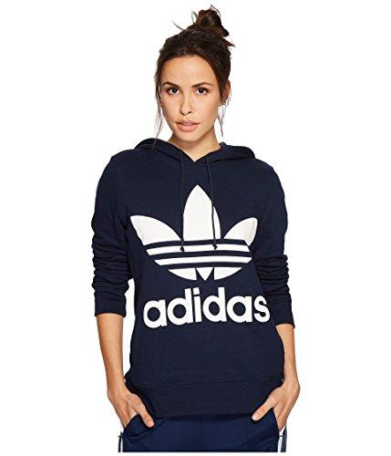 (adidas Originals Women's Trefoil Hoodie, Collegiate Navy, Small)