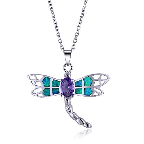 Blue Opal and Amethyst Dragonfly Pendant in Sterling Silver