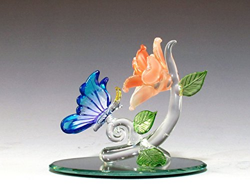 Art Glass Butterfly Decorative Glass Figurine on Oval Mirror