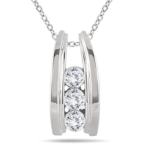 AGS Certfied 1/2 Carat TW Three Stone Diamond Ladder Pendant in 10k White Gold (K-L Color, I2-I3 Clarity) (Three Stone Diamond Rings)