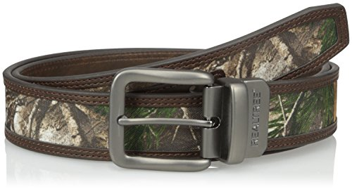 Realtree Men's Reversible Belt with Camo Inlay, Camo/Brown, 34/36