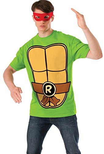 Nickelodeon Ninja Turtles Shirt With Mask and Raphael, Green, Large (Teenage Mutant Ninja Turtle Raphael Adult Mask)
