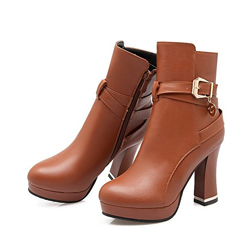 High Round Women's AgooLar Solid Heels Boots PU Brown Toe Closed Zipper wa1UtqUr7